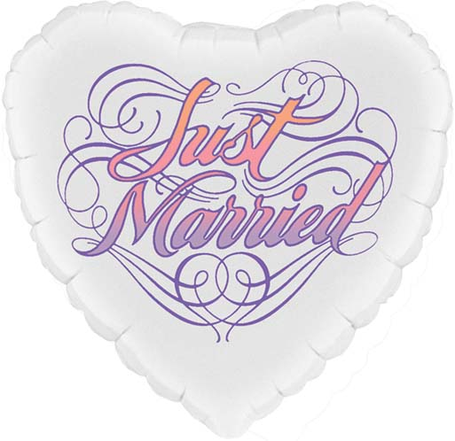 Just Married Heart Shaped Balloon