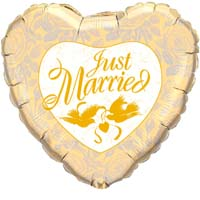 Just Married Balloons - Yellow